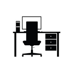 Desktop computer office vector