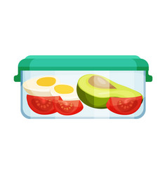 Different food stored in hermetic container vector