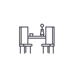 dining table with two chairs line icon vector image