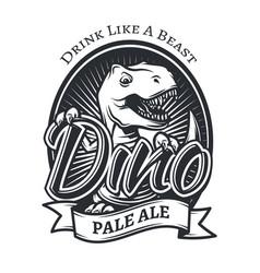 Dinosaur craft beer brewery logo concept t-rex vector