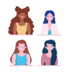 diversity and inclusion group women portrait vector image