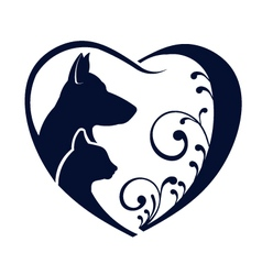 Dog Cat love heart vector