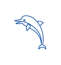 dolphin line icon concept dolphin flat vector image