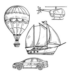 doodle style drawing land air and sea transport vector image