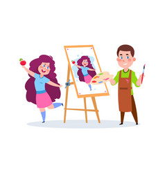 drawing boy school children with paints and brush vector image