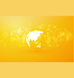 Earth globe with asia abstract yellow background vector
