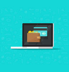 electronic wallet on laptop computer icon vector image