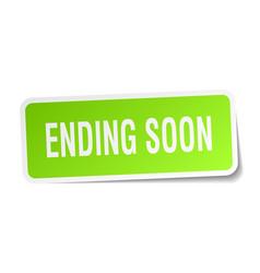 Ending soon square sticker on white vector