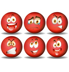 Facial expressions on red ball vector image