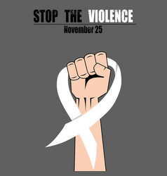 Fight hand fist against stop violence woman white vector