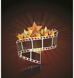 Film strip roll with gold stars cinema background vector