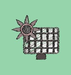 Flat shading style icon solar battery vector