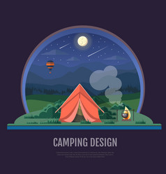 Flat style design of mountains and camping tent vector