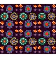 Flowers on dark background pattern vector