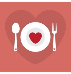 Greeting card love romantic dinner menu happy vector image
