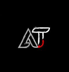 Grunge white red black alphabet letter at a t vector