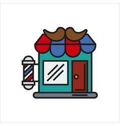 Hair salon store line icon vector