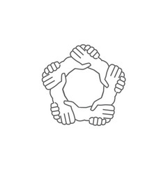 hands shaking hands a written in a pentagon shape vector image