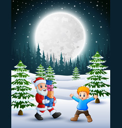 Happy christmas with santa claus holding a box gif vector