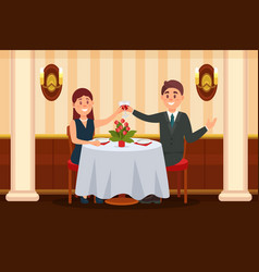 happy couple in love sitting in the restaurant and vector image