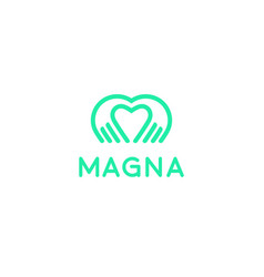 heart hands logotype palm love logo icon vector image