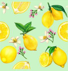 High quality lemon watercolor seamless pattern vector