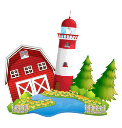 Isolated barn and lighthouse vector