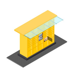 isometric post automat vector image
