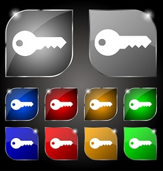key icon sign Set of ten colorful buttons with vector image