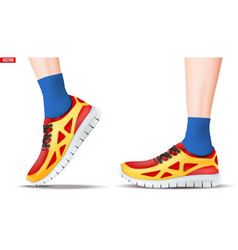 legs with sneakers vector image