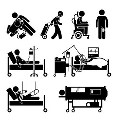 Life support equipments stick figure pictogram vector