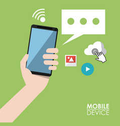 Light green poster mobile device with hand holding vector