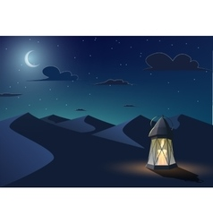 Luminous lantern stands in the desert vector