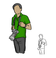 male photographer holding dslr camera vector image