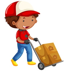 Man moving boxes on trolley cart vector