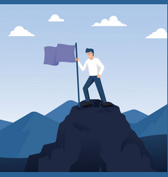 Man standing on top mountain with flag vector