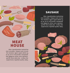 meat house and sausage promotional vertical vector image