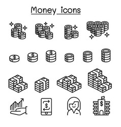 money banking financial icon set in thin line vector image