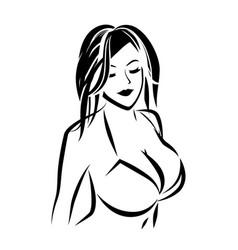 Nude girl in swimsuit outline vector