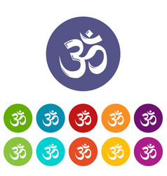 om symbol hinduism icons set color vector image