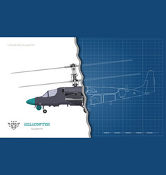 outline blueprint military helicopter vector image