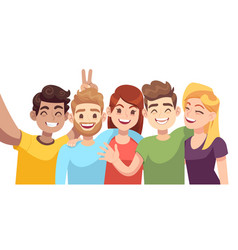 people group selfie guy takes group photo with vector image