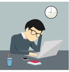 person working worried and stressed on a computer vector image