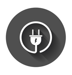 plug icon power wire cable flat with long shadow vector image