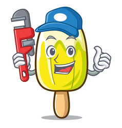 Plumber lemon ice cream mascot cartoon vector