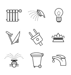 Public service and utilities icons vector