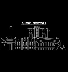 queens silhouette skyline usa - queens vector image
