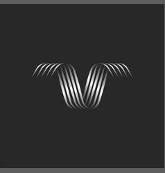 ribbon shape letter v logo monogram with swirls vector image