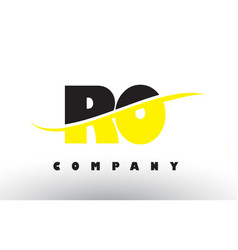 Ro r o black and yellow letter logo with swoosh vector