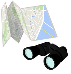 Road map and binoculars vector image